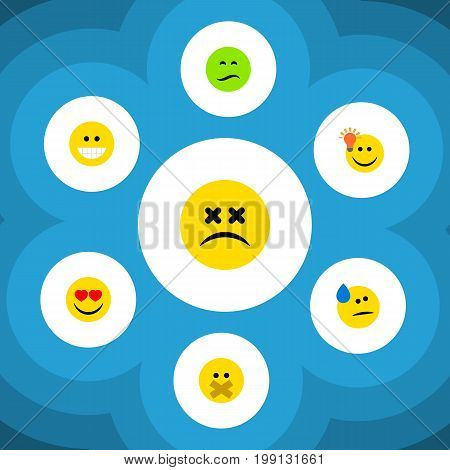 Flat Icon Expression Set Of Grin, Cross-Eyed Face, Hush And Other Vector Objects