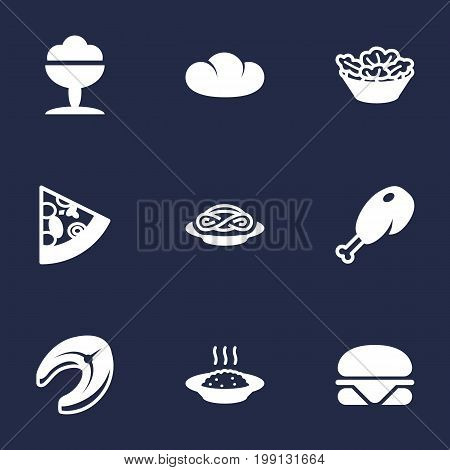 Collection Of Sorbet, Lettuce, Burger And Other Elements.  Set Of 9 Dish Icons Set.