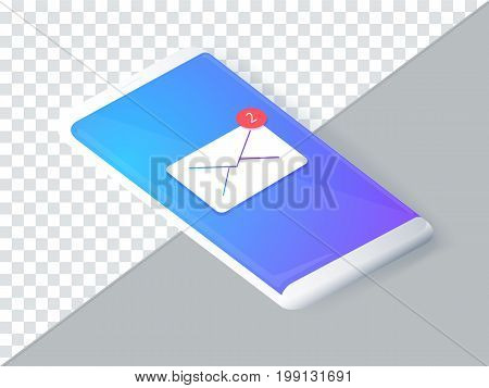 Isometric concept with smartphone and incoming messages. New mail sms. e-mail notification. Vector illustration. Minimalistic smartphone mockup isolated on background