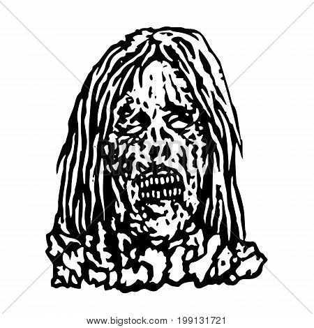 Terrible head of zombie woman. Vector illustration. Black and white colors. The horror genre. Scary female character face.