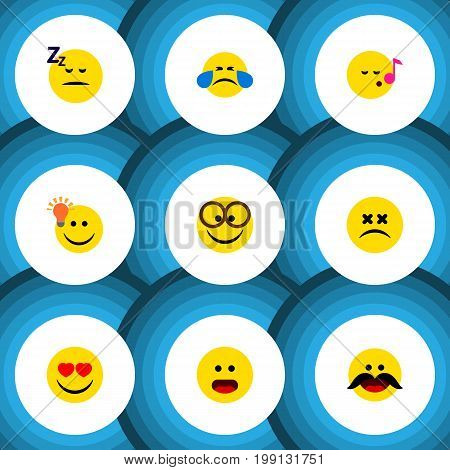 Flat Icon Emoji Set Of Love, Pleasant, Have An Good Opinion And Other Vector Objects