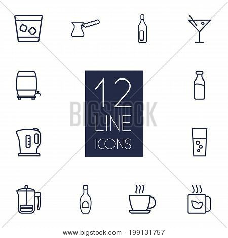 Collection Of Champagne, Bottle, Dairy And Other Elements.  Set Of 12 Drinks Outline Icons Set.