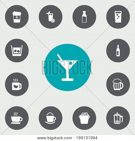 Collection Of Fridge, Lemonade, Green Tea And Other Elements.  Set Of 13 Drinks Icons Set.