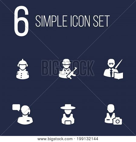 Collection Of Cameraman, Producer, Leaner And Other Elements.  Set Of 6 Professions Icons Set.