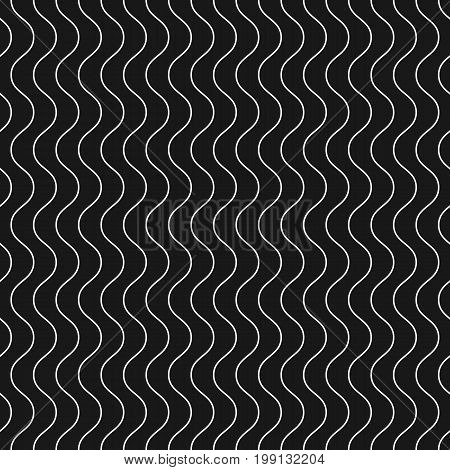Vertical thin wavy lines, vector seamless pattern. Subtle monochrome background with delicate waves. Simple black & white geometric repeat texture. Dark modern design for decor, web, fabric, linens. Design pattern.