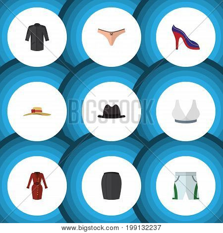 Flat Icon Clothes Set Of Lingerie, Trunks Cloth, Clothes And Other Vector Objects