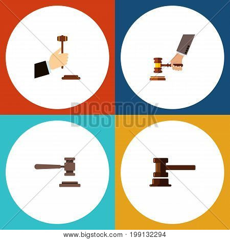 Flat Icon Lawyer Set Of Legal, Crime, Government Building And Other Vector Objects