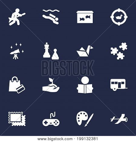 Collection Of Checkmate, Plant, Telescope And Other Elements.  Set Of 16 Hobbie Icons Set.