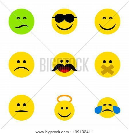 Flat Icon Gesture Set Of Happy, Angel, Smile And Other Vector Objects