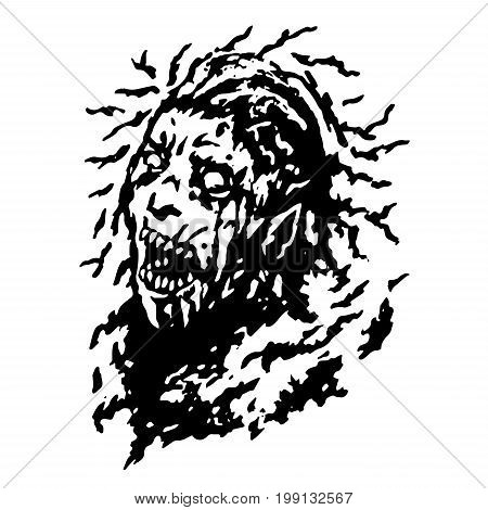 Scary head of zombie woman with disheveled hair. Vector illustration. Black and white colors. The horror genre. Terrible female character face.