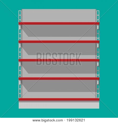 Empty supermarket showcase. Retail plastic shelves for products. Shop shelf, warehouse rack. Store and mall furniture. Vector illustration in flat style