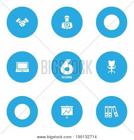 Collection Of Laptop, Office Chair, File Folder And Other Elements.  Set Of 6 Bureau Icons Set.