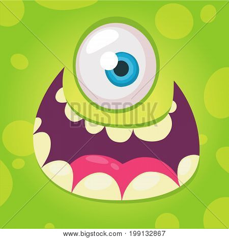 Funny cartoon monster face. Vector Halloween green cool monster avatar with wide smile