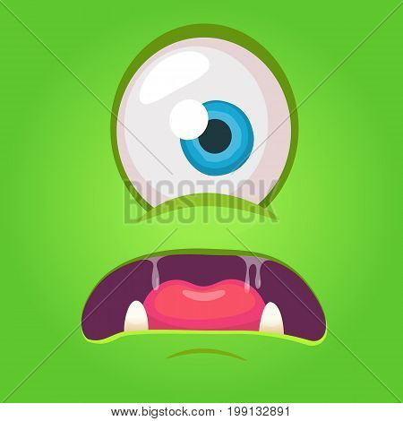 Cartoon angry monster face. Vector Halloween green monster with one eye. Monster mask