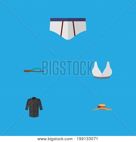 Flat Icon Garment Set Of Uniform, Brasserie, Elegant Headgear And Other Vector Objects