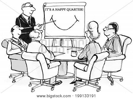 Business cartoon showing smiling executives, 'it's a happy quarter'.