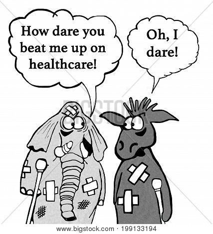 Cartoon about getting beat up about position on healthcare insurance.