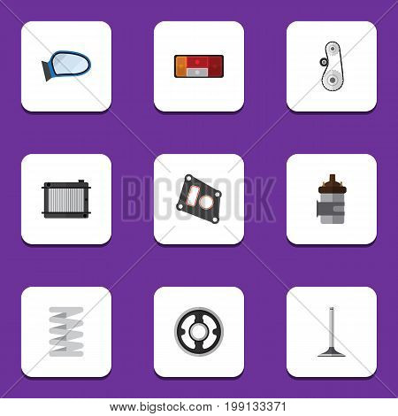 Flat Icon Parts Set Of Heater, Crankshaft, Car Segment And Other Vector Objects