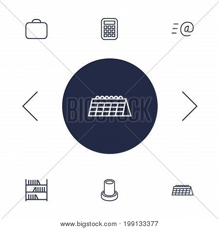 Collection Of Calculator, Bookshelf, Briefcase And Other Elements.  Set Of 6 Workspace Outline Icons Set.