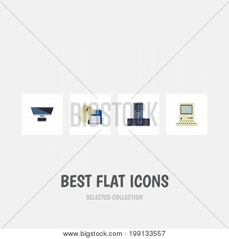 Flat Icon Laptop Set Of Computer Mouse, Computing, Processor And Other Vector Objects