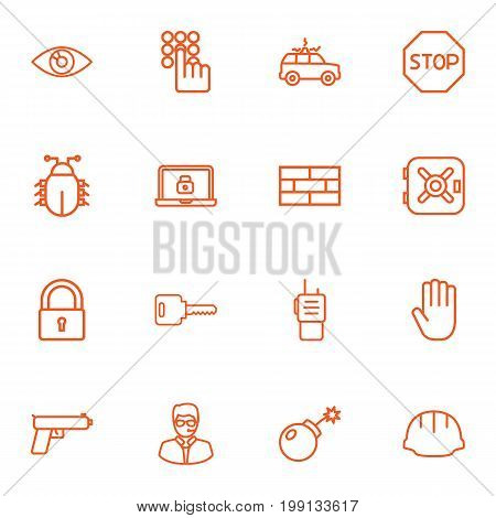 Collection Of Virus, Weapon, Lock And Other Elements.  Set Of 16 Procuring Outline Icons Set.