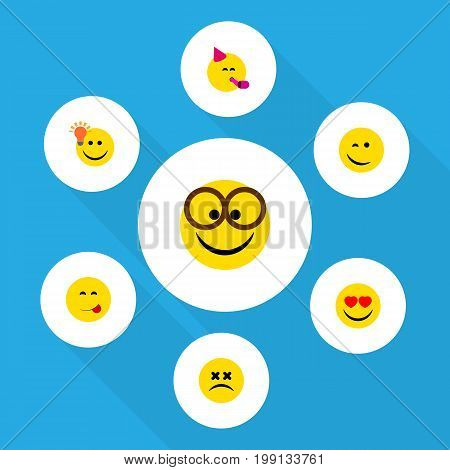 Flat Icon Expression Set Of Pleasant, Delicious Food, Party Time Emoticon And Other Vector Objects