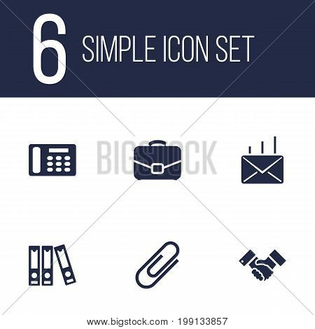 Collection Of Telephone, File Folder, Diplomat And Other Elements.  Set Of 6 Bureau Icons Set.