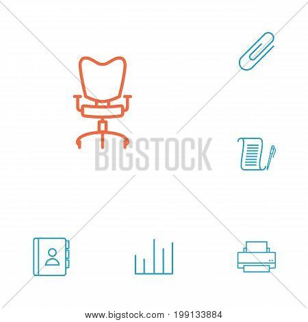 Collection Of Workplace, Printing Machine, Fastener Paper And Other Elements.  Set Of 6 Bureau Outline Icons Set.