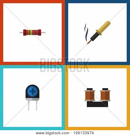 Flat Icon Technology Set Of Repair, Resistance, Coil Copper And Other Vector Objects
