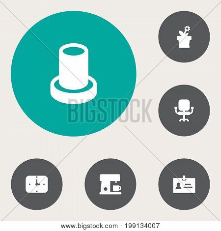 Collection Of Flower, Time, Data And Other Elements.  Set Of 6 Workspace Icons Set.