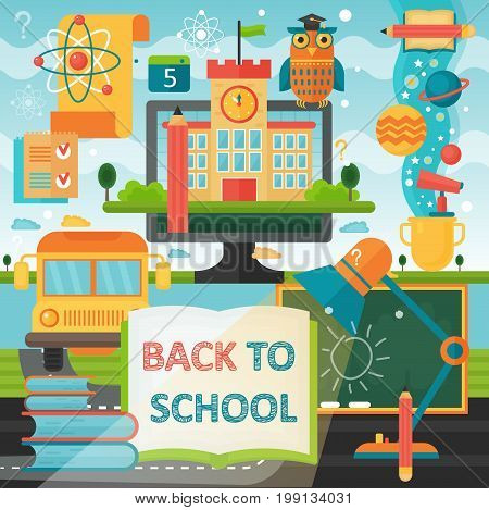 Back to School education banner with book, bus, lamp and education icons. Vector Flat Illustration. School Education Concept. Vector illustration
