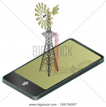 Wind pump for pumping of water on farm in mobile phone. Home wind power plant for power generation in communication technology, paraphrase. Industrial agriculture building.Vector windmill illustration
