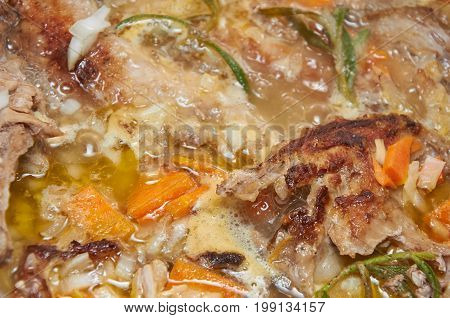 Delicious Savory Meat Stewed With Vegetables And Rosemary Greenery