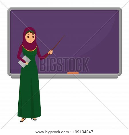 Muslim woman teacher standing in front of blackboard teaching student in classroom at school, college or university. Flat design muslim female character in traditional clothes
