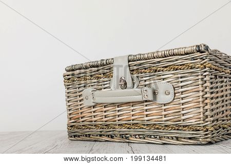 picnic basket and table place on white background picnic table