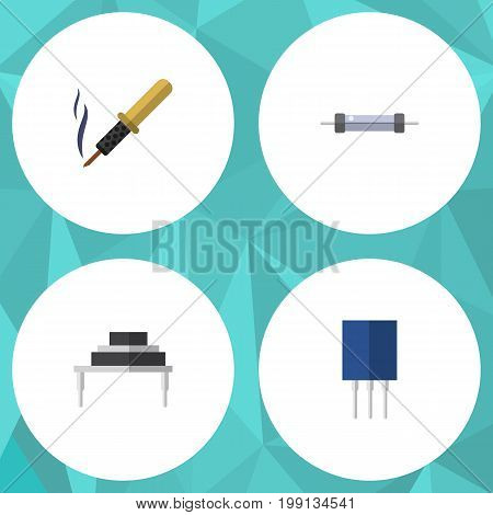 Flat Icon Appliance Set Of Destination, Resistor, Receptacle And Other Vector Objects