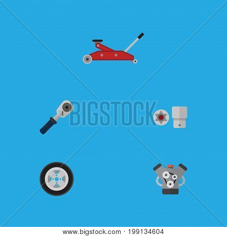 Flat Icon Auto Set Of Motor, Tire, Ratchet And Other Vector Objects