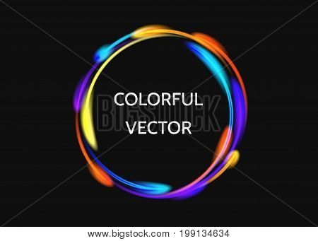 Colorful  neon circle lights effect  on black  background. Shining  magic flash energy beams. Abstract  multicolored  ring.   Vector  banner template.