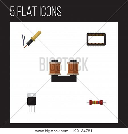 Flat Icon Technology Set Of Receiver, Coil Copper, Repair And Other Vector Objects
