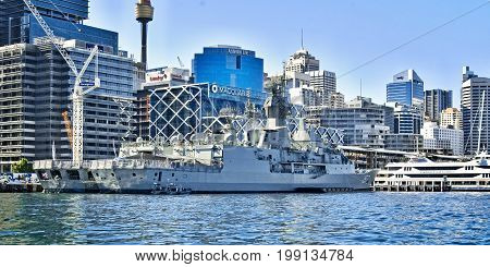 SYDNEY AUSTRALIA - October 5th. 2013: Warship HMAS Perth at Australian Navy Centenary Celebrations. Sydney Harbour New South Wales Australia.