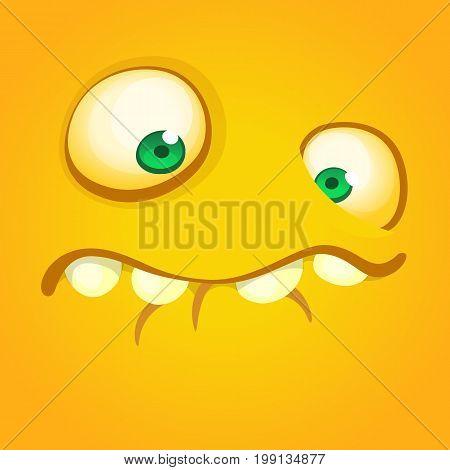 Cartoon monster face. Vector Halloween orange monster square avatar
