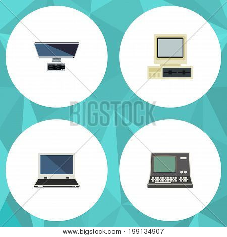 Flat Icon Computer Set Of Computer, Technology, Notebook And Other Vector Objects