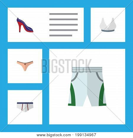 Flat Icon Garment Set Of Lingerie, Brasserie, Trunks Cloth And Other Vector Objects