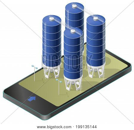 Grain silo isometric building in mobile phone, isometric. Blue seed elevator agriculture, farming, husbandry in communication technology. Isolated vector illustration, white background.