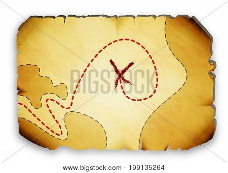 Pirate map with marked locations of the treasure, vector art illustration.