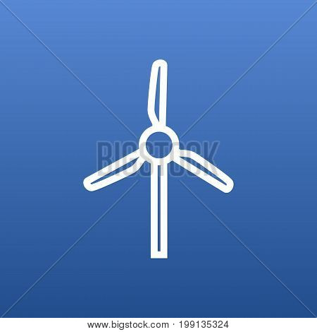 Vector Wind Turbine Element In Trendy Style.  Isolated Windmill Outline Symbol On Clean Background.