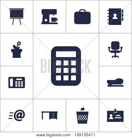 Collection Of Phone, Data, Desktop And Other Elements.  Set Of 13 Workspace Icons Set.