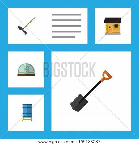 Flat Icon Farm Set Of Hothouse, Harrow, Container And Other Vector Objects