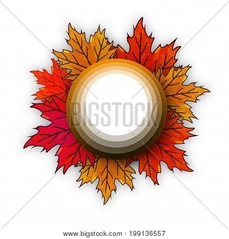 The circle on autumn leaves, vector art illustration.