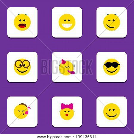 Flat Icon Emoji Set Of Party Time Emoticon, Pleasant, Caress And Other Vector Objects